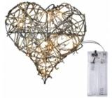 Emos Osvetlenie srdce z prútia 20 cm, 10 LED + 30 cm prívodný kábel 1 W teplá biela