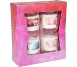 Heart & Home Granátové jablko + Morský vánok + Dotyk anjela + Ruže a maliny Sójová vonná sviečka horí až 15 hodín 4 x 52 g, darčeková sada