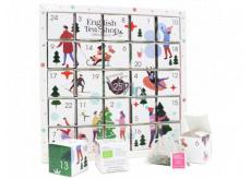 English Tea Shop Bio Adventný kalendár Puzzle biely 25 kusov biologicky odbúrateľných pyramídiek čaju, 13 príchuťou, 48 g, darčeková sada