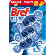 Bref Blue Aktiv Chlorine WC blok na hygienickú čistotu a sviežosť Vašej toalety, obarvuje vodu do modrého odtieňa 3 x 50 g