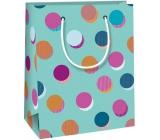 Ditipo Dárková papírová taška tyrkysová, barevná kolečka 11,4 x 6,4 x 14,6 cm QE