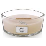 Woodwick White Honey - Biely med vonná sviečka s dreveným širokým knôtom a viečkom loď 453 g
