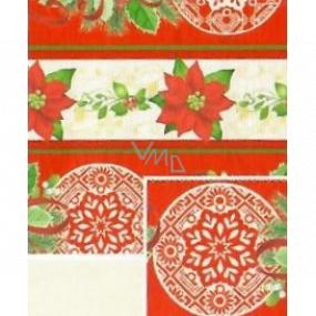 Nekupto Darčekový baliaci papier 70 x 200 cm Vianočná Červenobéžový vianočné hviezda