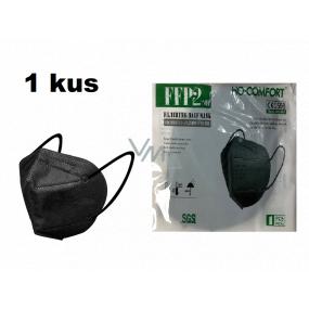 HO-Comfort Respirátor ústna ochranný 5-vrstvový FFP2 tvárová maska Čierna 1 kus