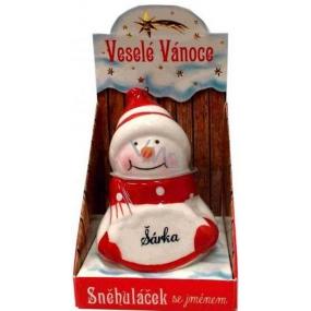 Nekupto Sněhuláček se jménem Šárka Vánoční dekorace 071 rozměr 8 cm