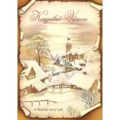 Nekupto Pohľadnica Čarovné vianoce hnedá, chalúpky