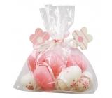 Vajíčka plastová ružová na zavesenie 4 cm, 8 kusov v sáčku s 2 kytičkami
