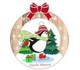 Albi Drevená vyrezávaná vianočná ozdoba Tučniak 9,5 x 8,5 cm