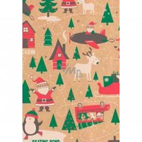 Ditipo Darčekový baliaci papier 70 x 200 cm Vianočný KRAFT Santa zelené stromčeky