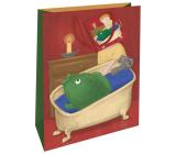 Nekupto Darčeková papierová taška 32,5 x 26 x 13 cm Vianočný kapor vo vani WBL 1948 30