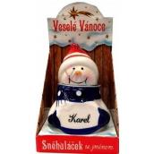 Nekupto Sněhuláček se jménem Karel Vánoční dekorace rozměr 8 cm