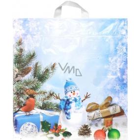 Igelitová taška Snehuliak, vtáčik, darček 43,5 x 46 cm