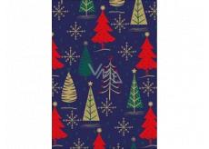 Ditipo Darčekový baliaci papier 70 x 200 cm Vianočné modrý zlatej, zelenej a červenej stromčeky