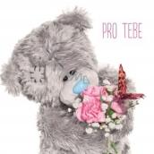 Me to You Blahopřání do obálky 3D Pro tebe, Medvídek s kyticí a motýlkem 15,5 x 15,5 cm