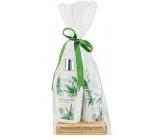 Bohemia Gifts Cannabis Konopný olej tekuté mydlo 300 ml + telové mlieko 250 ml + tuhé mydlo 100 g, drevená paleta kozmetická sada