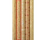 Zöllner Vianočný Luxusné baliaci papier s razbou Luxury červené stromčeky, darčeky, srdiečka 1,5 mx 70 cm