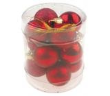 Banky mini červené mix povrchov na zavesenie 2,5 cm vo valci 12 kusov