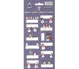 Vianočné etikety Snehuliaci - tmavomodrý 0516