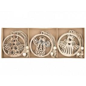Anjel drevený prírodný 7,5 cm 9 kusov, v krabičke