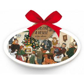Nekupto Keramická ozdoba ovál Josef Lada Vianočný stromček 5 x 9 x 0,5 cm