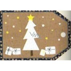 Nekupto Vianočné kartičky na darčeky Biely stromček, darčeky 5,5 x 7,5 cm 6 kusov