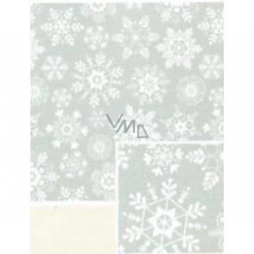 Nekupto Darčekový baliaci papier 70 x 200 cm Vianočný Šedý s bielymi vločkami