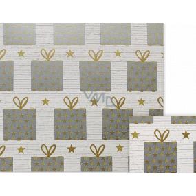 Nekupto Darčekový baliaci papier 70 x 200 cm Vianočný biely strieborné darčeky