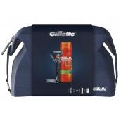 Gillette ProGlide holiaci strojček pre mužov + 2 náhradné hlavice + Fusion5 Ultra Sensitive hydratačný gél na holenie 200 ml + etue, kozmetická sada