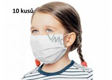 Rúška 3 vrstvová ochranná zdravotné netkaná jednorazová, nízky dýchací odpor pre deti 10 kusov biela bez potlače