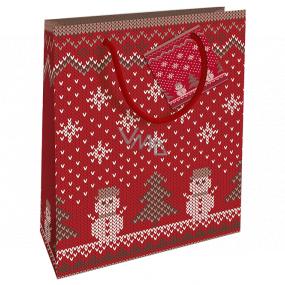Nekupto Darčeková papierová taška 23 x 18 x 10 cm Vianočný červená pletený vzor WBM 1933 30