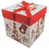 Darčeková krabička skladacia s mašľou Vianočné s darčekmi a ozdobami 16,5 x 16,5 x 16,5 cm