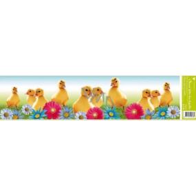 Room Decor Okenné fólie bez lepidla pruh veľkonočné zvieratka kačičky farebné kvety 1 kus