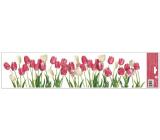 Okenné fólie bez lepidla pruhy Tulipány 64 x 15 cm