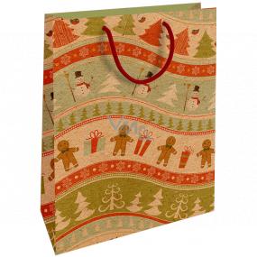 Nekupto Darčeková Kraftová taška 28 x 37 cm Vianočný Perníčky, snehuliaci 606 WKHL