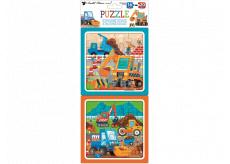 Puzzle Stavebné stroje 15 x 15 cm, 16 a 20 dielikov, 2 obrázky