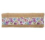 Stuha z juty s fialovými a modrými kvetmi šírka 6 cm, 2 m