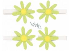 Kytičky zelené s glitry na kolíčku 5 cm, 4 ks v sáčku