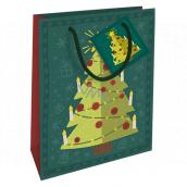 Nekupto Darčeková papierová taška 14 x 11 x 6,5 cm Vianočný zelená stromček WBS 1923 50