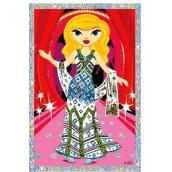 Vyškrabávací obrázok bábiky so šálom 21,5 x 11 cm
