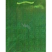 Nekupto Darčeková papierová taška veľká 32 x 26 x 13 cm Vianočné, zelená hologramová 050 50 THL