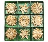 Slamené ozdoby v krabičke cca 6 cm, 27 kusov