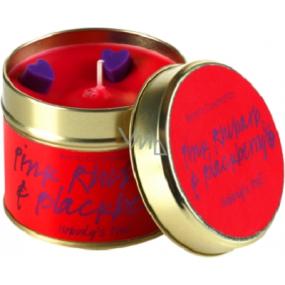 Bomb Cosmetics Ružová rebarbora a ostružina Vonná prírodné, ručne vyrobená sviečka v plechovej dóze horí až 35 hodín