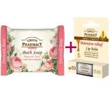 Green Pharmacy Intensive Relief 5 Oils balzam na pery 2 x 3,6 g + damašské ruže a Bambucké maslo toaletné mydlo 100 g, triopack