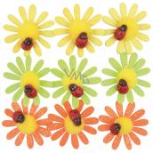 Kvetinky samolepiace s glitrami a lienkou 4 cm 9 kusov