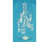 Stromček sklenený s čírymi ozdobami 16 cm