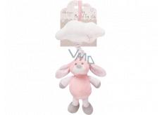 First Play Hračka plyšová hrajúci naťahovacie Ružový zajačik 34 x 15 cm