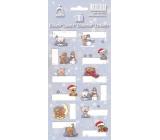Arch Vánoční etikety samolepky Medvídci světle modrý arch 7053 12 etiket