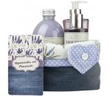 Bohemia Herbs Lavender La Provence Vzpomínka na Provence sprchový gel 250 ml + šampon 200 ml + pěna do koupele 500 ml + látkový košík, kosmetická sada