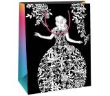 Ditipo Darčeková papierová taška k vymaľovanie biela, čierna biela dáma 22 x 10 x 29 cm Kreativ 40