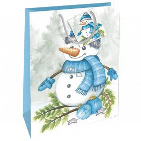 Nekupto Darčeková papierová taška 32,5 x 26 x 13 cm Vianočné snehuliak WBL 1951 40